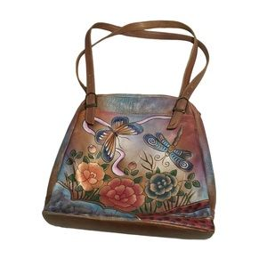 Anuschka Leather Butterfly Floral Painted Bag
